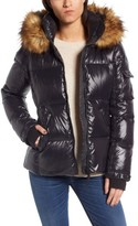 S13/Nyc Women's Kylie Faux Fur Trim Gloss Puffer Jacket