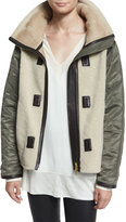 Rag & Bone Elson Shearling Fur Liner Jacket, Natural