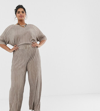 Another Reason Plus relaxed pants in plisse two-piece