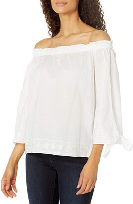 NYDJ Women's Off Shoulder Blouse with Embriodery