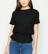 New Look Textured Shirred Peplum T-Shirt