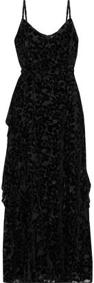 ML Monique Lhuillier Wrap-effect Ruffled Devore-velvet Gown