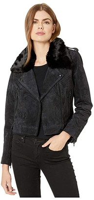 Blank NYC Real Suede Moto Jacket in Carbon (Black) Women's Clothing