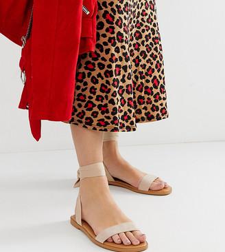 Asos Design DESIGN Wide Fit Flawless tie leg sandals-Beige