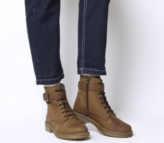 Office Alpaca Buckle Lace up Biker Boots Brown Leather