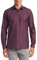 Z Zegna Plaid Cotton Casual Button-Down Shirt