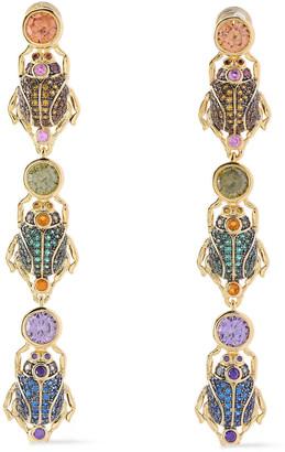 Noir Linked Beetle 14-karat Gold-plated Crystal Earrings