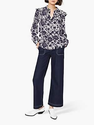 Warehouse Floral Ruffle Shirt, Blue
