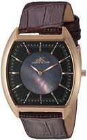 Adee Kaye Men's Quartz Stainless Steel and Leather Casual Watch, Color:Brown (Model: AK2200-MRG/BK)