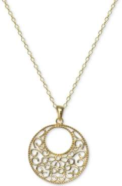 "Giani Bernini Filigree Circle 18"" Pendant Necklace in 18k Gold-Plated Sterling Silver, Created For Macy's"