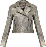 J Brand Aiah Gold Biker Leather Jacket