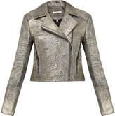 J Brand Aiah Gold Biker Leather Jacket