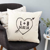 Tillie Mint Loves Personalised Initials And Date Love Heart Cushion