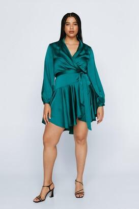 Nasty Gal Womens Plus Size Satin Flowy Wrap Dress - Green - 22