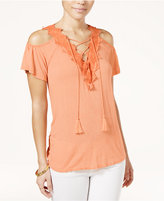 Jessica Simpson Lace-Up Cold-Shoulder Top