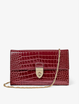 Aspinal of London Mayfair crocodile-embossed leather clutch bag