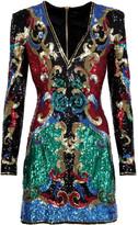Balmain Sequined tulle mini dress