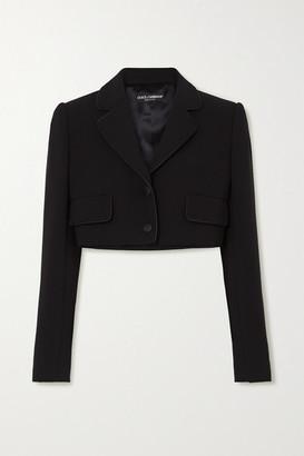 Dolce & Gabbana Cropped Satin-trimmed Stretch Wool And Silk-blend Blazer - Black