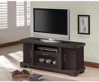 Porch & Den Kittery Contemporary 47-inch Dark Brown Wood TV Cabinet with 2 Doors