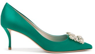 Roger Vivier Flower Crystal-embellished Satin Pumps - Emerald