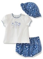 Absorba Baby Girls Scalloped Tee, Floral Shorts and Hat Set