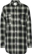 R 13 Oversized plaid cotton-blend top