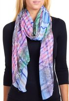 David & Young Women's Multi Scroll Overprinted Plaid Scarf