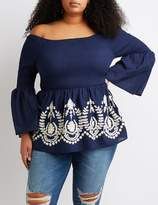 Charlotte Russe Plus Size Smocked Embroidered Off-The-Shoulder Top
