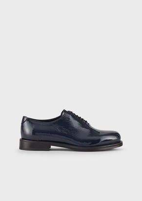 Emporio Armani Crinkled Patent Leather Oxfords