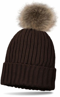 styleBREAKER Knitted Beanie with Large Fur Pompom and perl rip Pattern Warm Fleece Inner Lining Winter hat Women 04024031