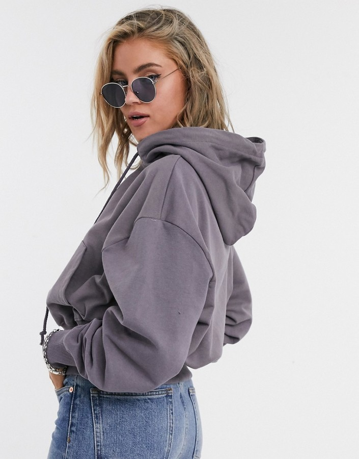 Thumbnail for your product : Collusion crop basic oversized hoodie in gray