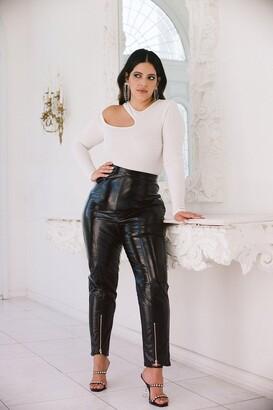 Nasty Gal Womens Vinyl Attempt Plus Zip Trousers - Black - 16