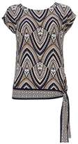 Wallis Petite Stone Tribal Print Tie Side Top