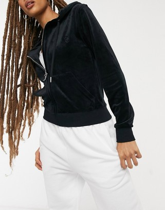 Juicy Couture co-ord super soft velour zip up hooded jacket in black