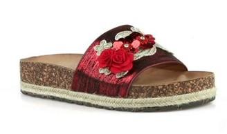 Nature Breeze Flower Espadrille Slide Sandals in Red
