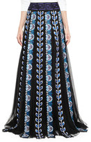 Mary Katrantzou Embroidered Tulle Panel Maxi Skirt, Blue/Black