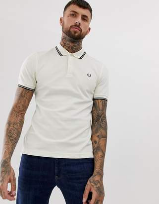 Fred Perry twin tipped polo in cream-White
