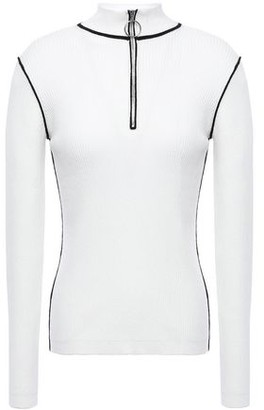 Maje Zip-detailed Ribbed Cotton-blend Sweater