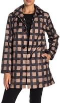 Kate Spade grid print water-resistant hooded snap rain jacket