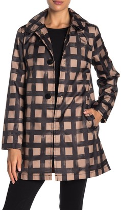 Kate Spade Grid Print Water-Resistant Hooded Snap Rain Jacket