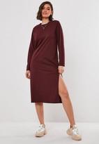 Missguided Burgundy Basic Long Sleeve Midi T Shirt Dress