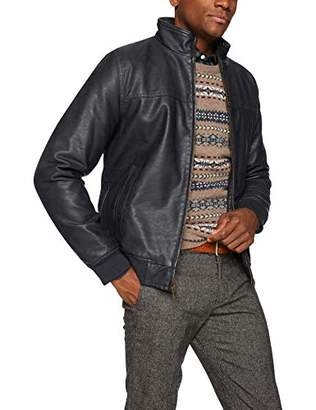 Tommy Hilfiger Men's Faux-Leather Bomber Jacket
