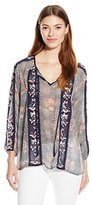 Lucky Brand Women's Floral Embroidered Peasant Top
