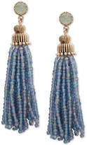 lonna & lilly Gold-Tone Stone & Beaded Tassel Drop Earrings
