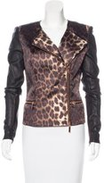 Thomas Wylde Leather-Accented Printed Jacket