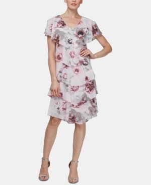 SL Fashions Allover-Floral Tiered Shift Dress