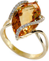 Effy Gemma by Marquise-Cut Citrine (8-1/2 ct. t.w.) and Diamond (1/8 ct. t.w.) Wrap Ring in 14k Gold