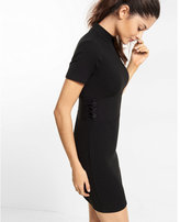 Express ribbed side tie mock neck dress