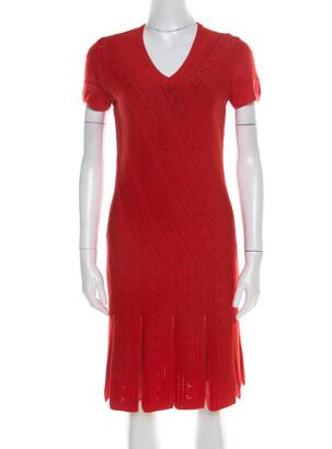 Roberto Cavalli Red Crochet Knit V Neck Godet Dress M