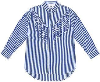 Msgm Kids Striped cotton-blend shirt